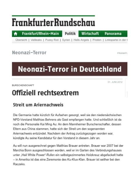 Matthias Brauer, Raczek-Burschenschafter, in Frankfurter Rundschau, 1.6.12