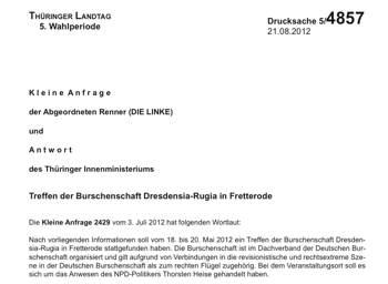 Kleine Anfrage zu Dresdensia Rugia Gießen im Thüringer Landtag, Burschenschaft