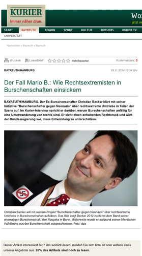 Screenshot Artikelankündigung Nordbayerischer Kurier/ Foto dpa